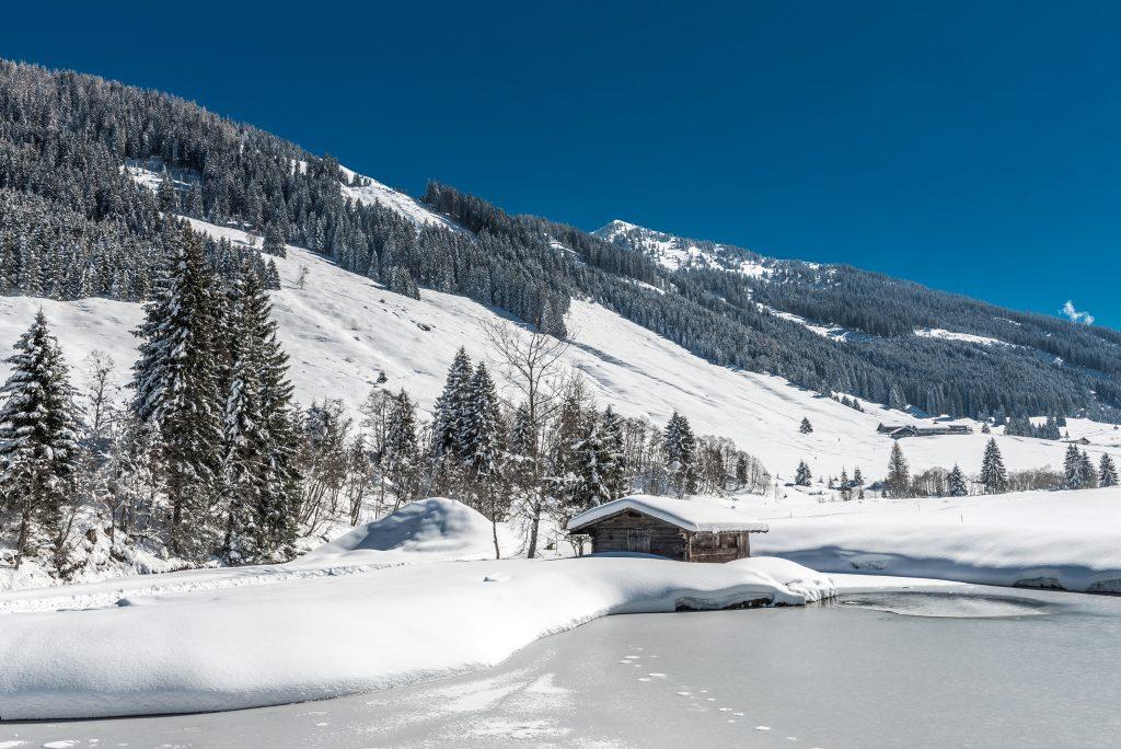 Schönangeralm Winter Teich Wildschönau