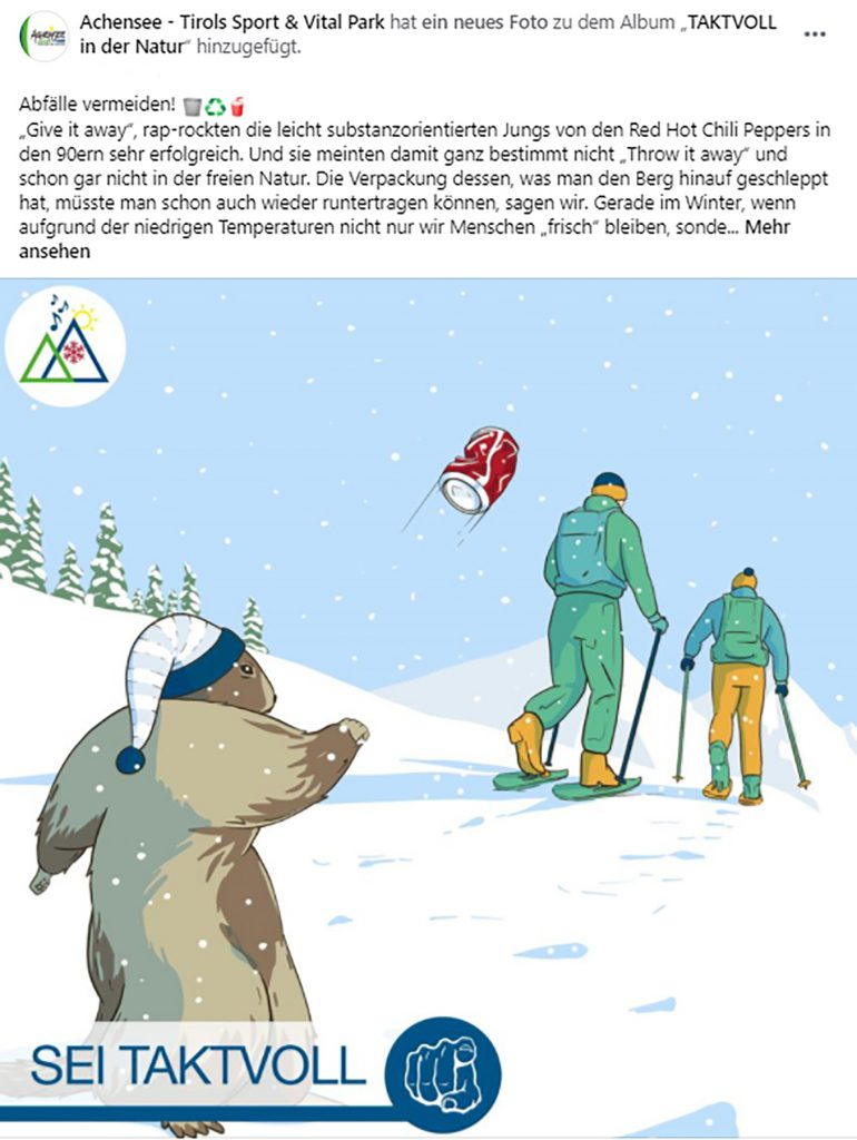"""Problematiken wie Abfallvermeidung werden bei """"Taktvoll"""" in legerer Form thematisiert ©Achensee Tourismus"""